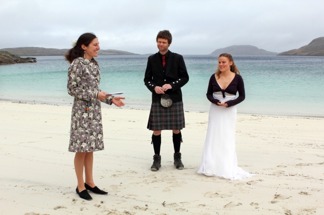 A stunning Scottish Wedding Ceremony on a remote beach conducted by Onie Tibbitt, Agnostic Scotland Wedding Celebrant.